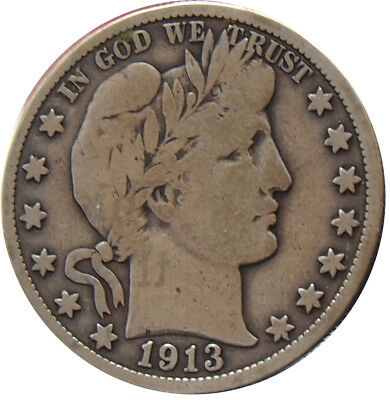1913-S Barber Half Dollar VG+ Condition - b ne