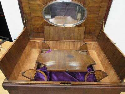 c1800s VICTORIAN MAHOGANY MIRROR FITTED VANITY JEWELRY BOX CHEST SECRET DRAWER