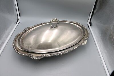 """20 x 12"""" Silver Serving Tray Side Buffet 3 Pieces Bottom Lid and Pyrex insert"""