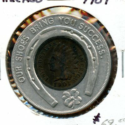 """1901 U.S. """"Our Shoes Bring You Success- Chicago"""" Indian Head Cent Token AK140"""