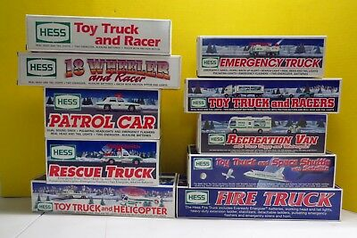 Lot of 10 NEW Hess Trucks 1991,1992,1993,1994,1995,1996,1997,1998,1999, 2000