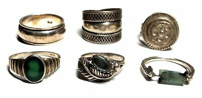 5x 925 STL SILVER Assorted Design Rings w WHITE METAL Spinner Ring, 29.16g - M21