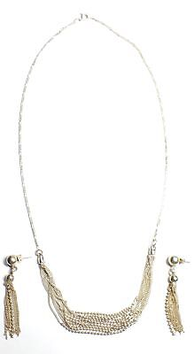 925 STL SILVER Fancy Chain 9 Strand Necklace w Tassel Earrings, 21.49g - M21