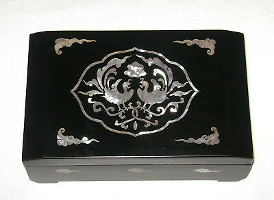 Vintage Korean Black Lacquer Trinket Box Mother of Pearl Inlay