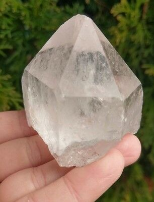 Larger Natural Etched CLEAR QUARTZ Point Cap Crystal Reiki Brazil 5oz!