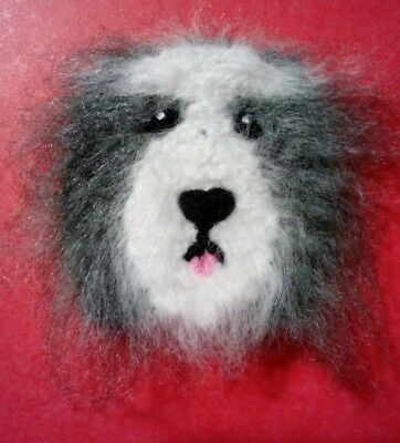 knitted Bearded Collie brooch