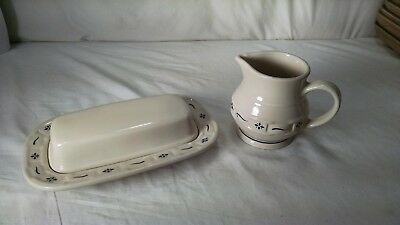 Longaberger Pottery 2 PACK. Butter Caddy and Creamer Pourer