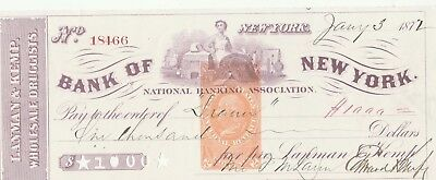 1872 Bank Of New York, Layman & Kemp Wholesale Druggists  With Revenue Stamp