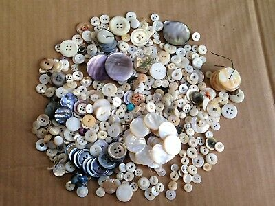 14 Ounce Mixed Lot Of Antique Mother Of Pearl Estate Buttons Mop