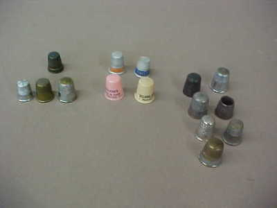 Lot Of 15 Vintage Thimbles (1 Sterling, 4 Advertising, Mixed Lot)