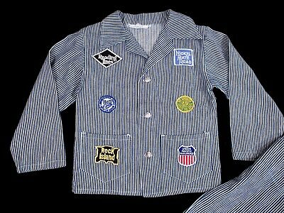 Vintage CHILD'S RAILROAD SUIT Patches Hickory 1960's Bibs Overalls Denim Jacket