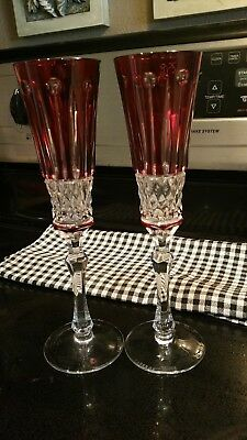 faberge xenia ruby red cut to clear champagne glasses (pair)