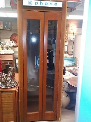 VINTAGE 1950S ALL Original Wooden Phone Booth and phone