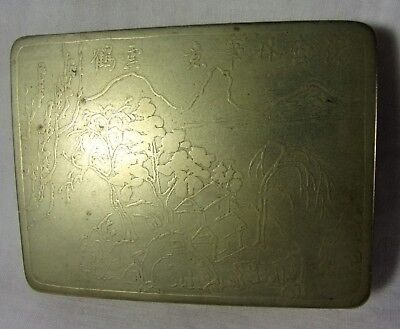 1880-1890 Antique Acid Etched Brass Snuff Box Metal Case Asian Copper Interior