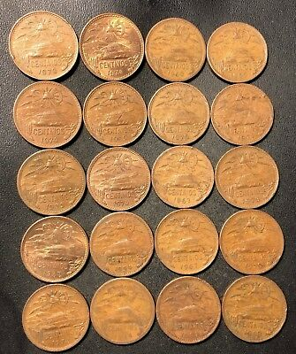 Old Mexico Coin Lot - 20 CENTAVOS - 1944-1974 - 20 COINS - Lot #J14