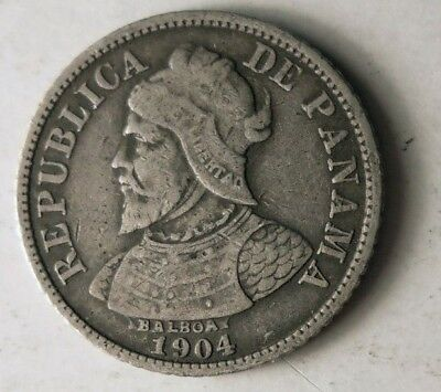 1904 PANAMA 5 CENTESIMOS - Great Key Date Low Mintage Silver Coin - Lot #J14