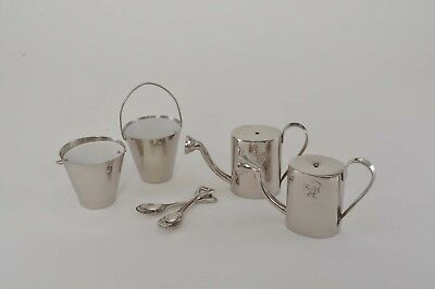 Smith & Hawken Silver Plated Salt & Pepper Watering Can, Pail & Shovel/Set of 2