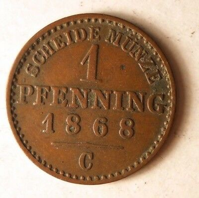 1868 GERMAN STATES (PRUSSIA) PFENNIG - Great Vintage Coin - Lot #J14