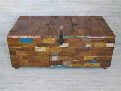 Rustic Multi-storage Indian Chest TV Stand Reclaimed Wood W/ Iron