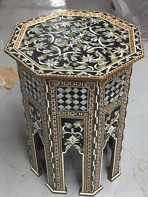 Syrian Table Inlaid With Mother Of Pearl Moroccan/syrian End Table!!!