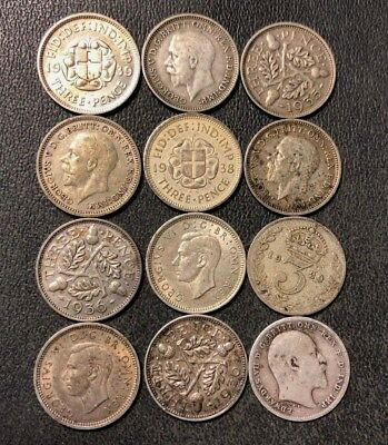Vintage Great Britain Silver Coin Lot - 3 Pence - 1908-1941 - 12 Coins - Lot J14