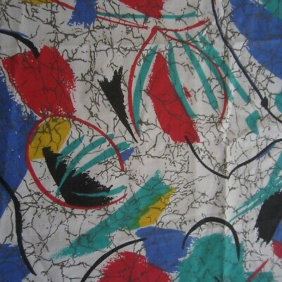 54cm x 114cm Wild Blue Red Green Abstract Retro Vintage cotton fabric 1980s