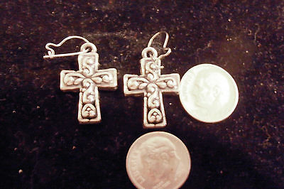 bling silver plated fashion JEWELRY cross crucifix christian dangle ear ring DIY