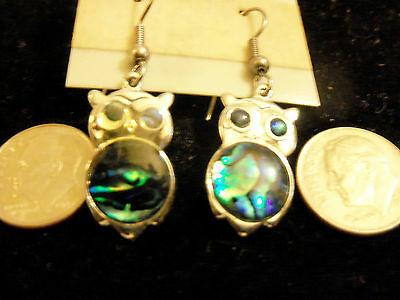 bling silver plated abalone paua myth owl bird shell dangle ear ring jewelry diy