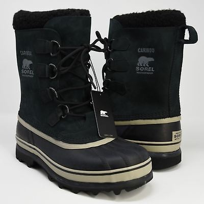 "Sorel Men's Caribou Waterproof Winter Snow Boots ""Tusk"" - Black - 8 US"