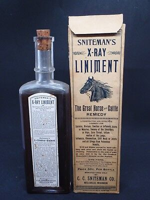 Sniteman's X-Ray Liniment Labeled, Embossed, With Box
