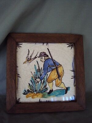Vintage Hunting Man Hand Painted Framed Tile Made In Germany