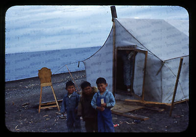 (098) Vintage 1950s 35mm Slide Photo - BARROW AK - Eskimo Camp, Cape Smythe