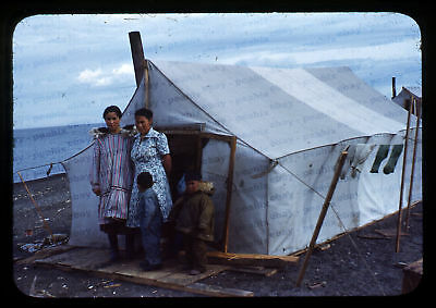 (100) Vintage 1950s 35mm Slide Photo - BARROW AK - Eskimo Camp, Cape Smythe