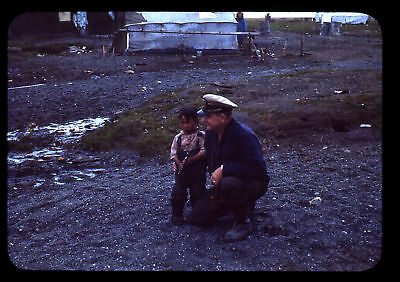 (111) Vintage 1950s 35mm Slide Photo - BARROW AK - Eskimo Camp, Cape Smythe