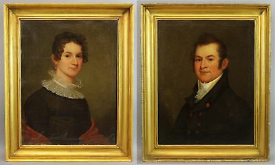 Pair 19thC Antique American Portrait Oil Paintings Wife & Husband Ship Captain