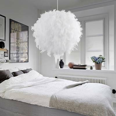 Romantic White Feather Shade Droplight Lamp Shade Bedroom LED Ceiling Light UK