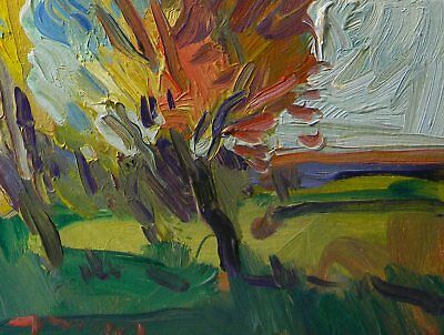 JOSE TRUJILLO Oil Painting Impressionist ORIGINAL Landscape ORANGE FALL Colors