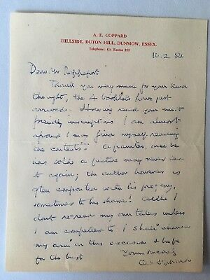 A. E. Coppard 1954 Signed letter, envelope and photograph