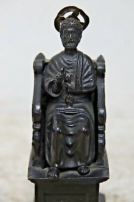 Wonderful Old Bronze Of St Peter In Papal Chair - Very Rare - L@@k