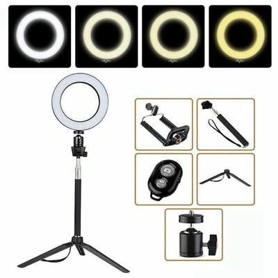"8"" Dimmable LED Ring Light Kit Stand LED Lighting Makeup Phone Camera 5500K"
