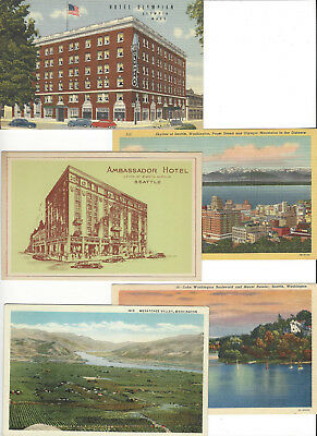 Lot of 50 Older Washington State Vintage Postcards Seattle Olympia Mt. Rainer