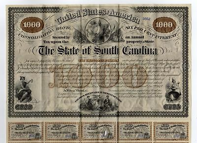 1874 $1000 The State of SOUTH CAROLINA Bond with 30 Coupons!