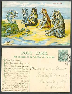 LOUIS WAIN Artist Signed A Fishy Story Fish Cats Kittens Beach 1904 Old Postcard