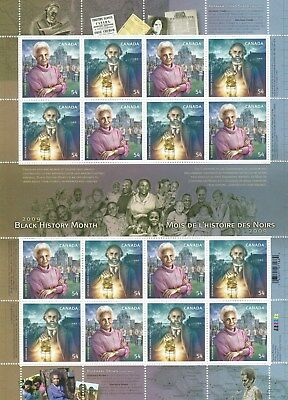 BLACK HISTORY MONTH / HERITAGE ON CANADA 2009 Scott 2316a, SHEET OF 8 PAIRS, MNH