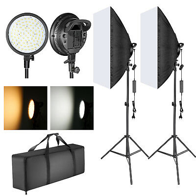 48W Temperatura Regulable 2 Colores Cabeza de Luz LED Softbox Kit Iluminación