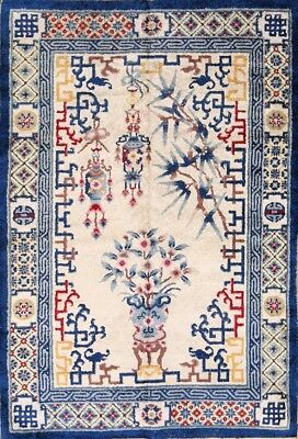 One-of-a-Kind Silk Antique Art Deco Nichol Chinese Oriental Hand-Knotted 4x6 Rug