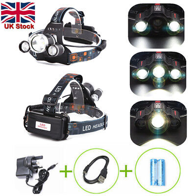 3X T6 XML CREE Rechargeable Head Torch Headlamp Lamp Light 6000LM Lumens