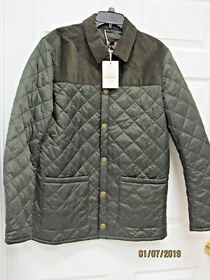 NWT Barbour Gillock Quilted Jacket Men's Large Corduroy Shoulder Patches