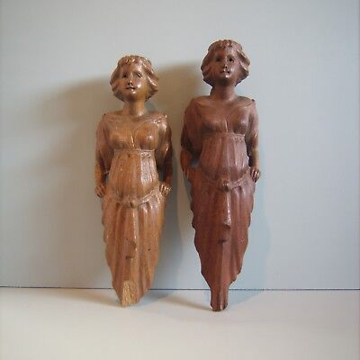 PAIR Architectural Gothic Antique Salvaged Figural Maiden Wood Carved Sculpture