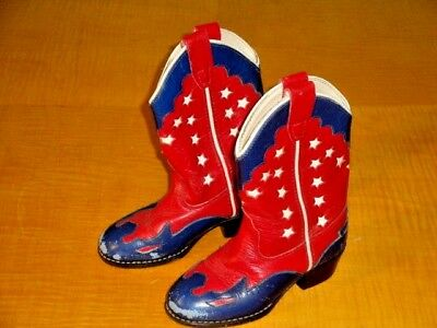 Childs Vintage Style Inlaid Cowboy Boots Red White Blue With Stars $19.95